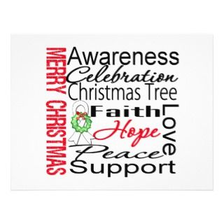 Merry Christmas Lung Cancer Ribbon Collage Full Color Flyer