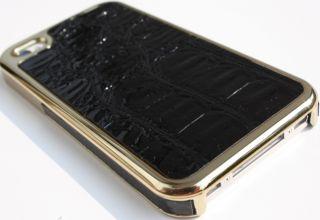 LUXUS IPHONE 4 S LEDER kROKO CHROM GOLD Rahmen cover hülle (NO,strass