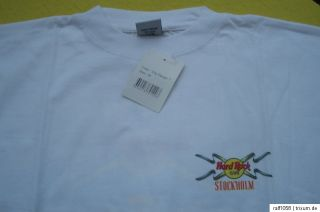 HRC Hard Rock Cafe Stockholm white T Shirt City Design M ca50 52