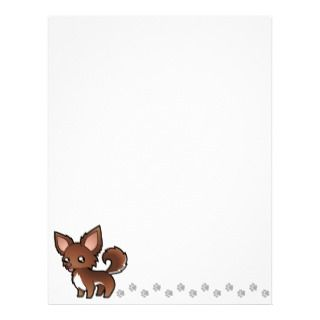 Cartoon Chihuahua (chocolate and white long coat) letterhead by