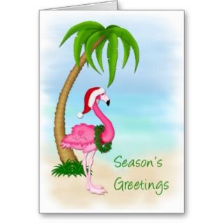 Flamingo Palm Tree Christmas Greeting Card