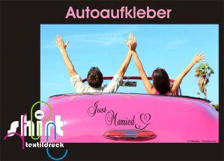 445   Just Married Hochzeit Heiraten Auto Aufkleber Autoaufkleber