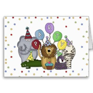 themed childs party invitation with jungle animals wearing party