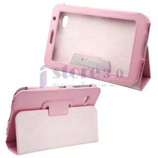 Pink Folio Leather Case Cover for Samsung Galaxy Tab 7.0 Plus P6200