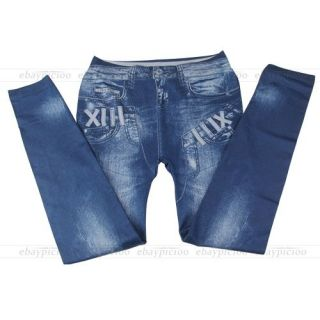 Jeans Stretch Treggings Leggings Jeggings Damen Sexy dunkelblau