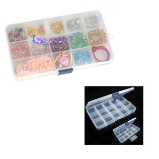 Compact Adjustable 15 Compartment Plastic Storage Box Jewelry Tool
