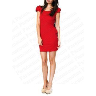Damen Bodycon Kleid Pailletten Schleife Rückenfrei Rot Tunika Party