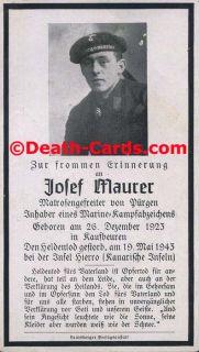STERBEBILD   DEATH CARD   UBOOT   U447   KRIEGSMARINE   VERSENKT VON