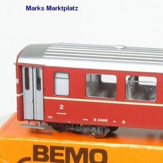H0m Personenwagen 2.Kl. B 2456 RhB rot Bemo 3258 neuw. OVP