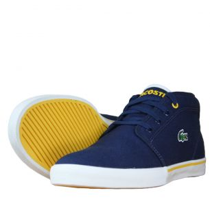Lacoste Ampthill WP SPM Mens Mid Trainers SS12 Navy/Yellow