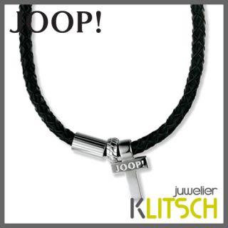 JOOP Schmuck Herren Leder Kette Kreuz Leder Edelstahl JPNL10277A470