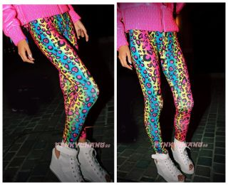 Womens Neon Gradient Leopard Print Tights Leggings
