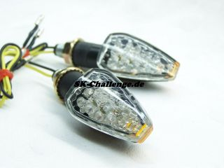 2x LED Miniblinker Blinker Schwarz kurz Arm 20mm TOP