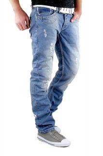 BRANDNEU Amica Denim Jeans Hose Herren Vintage Clubwear Blue Destroyed