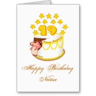 19 Year Old Birthday Cake Mouse Greeting Cards