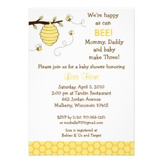Bumble Bee Honeycomb Baby Shower Inviaions