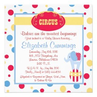 circus Baby Shower invie cue fun simple swee