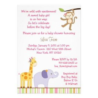 Girl Jungle Safari Baby Shower Invitations