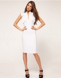 Hybrid @ Asos Deep V Neck Frill Sleeves Bodycon Dress 8 36 White