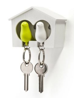 DUO Sparrow Key Ring with Birdhouse Keychain Gadget for Home