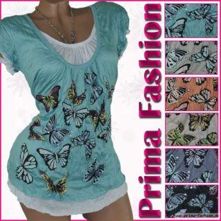 Shirt Damen Lagenlook Crash Tunika T  Shirt Baumwolle Muster M L XL 36