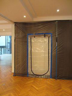 Staubschutzwand System mit 6 Montagestützen und Reißverschluss