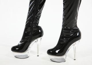 High Heels Plateau Overkneestiefel Lack schwarz Größe 39 Schuhe
