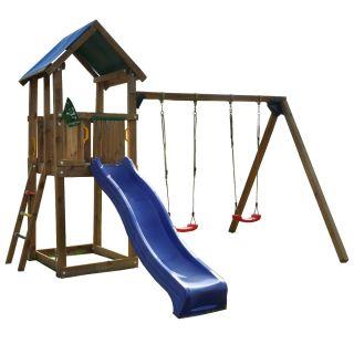 Jungle Gym Castle mit Rutsche und Anbauschaukel Schaukel Spielturm