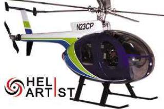 Heliartist Hughes 500D Blau GFK Rumpf f 450 Heli Belt T Rex Titan KDS