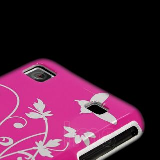Hot Pink Floral Hard Thin Case For Samsung Galaxy S Plus i9001