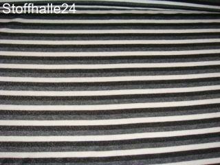 XXL Jersey Stretch Stoff schwarz grau weiss gestreift #016