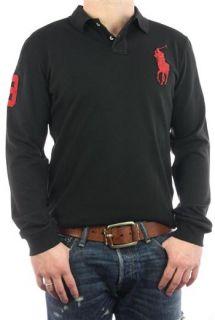 Ralph Lauren Polo Shirt Longsleeve Big Pony schwarz rot Gr. S 3XL NEU