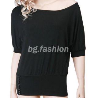 Sexy Tunika Damen Shirt Bluse Fledermaus Top Schulterfrei T Shirt