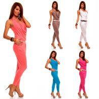 Damen Overall Catsuit Jumpsuit Einteiler langer Overall Neckholder