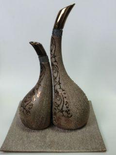Keramik Vase Deko Set 3   teilig orientalisch (silber   gold   braun