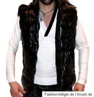 Coole Herren Glanz Weste Daunen Stepp Weste Kapuze Jacke S M L XL XXL