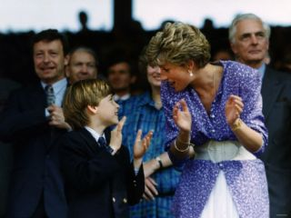 Prince William and Mother Diana at the Ladies Wimbledon Final July 1991 Photographic Print