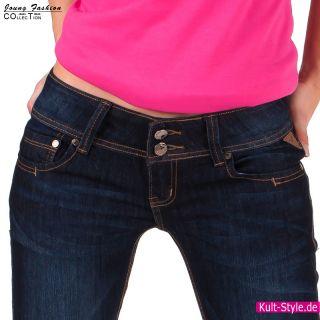 Jeans STRETCH Hose Sexy breiter Bund Dark BLUE 34 42 NEU #548