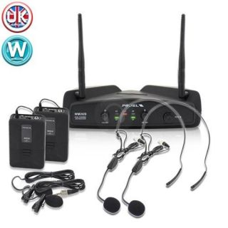 Proel WM202DH F2 Twin UHF Wireless Microphone Headset Mic Karaoke PA