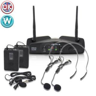 Proel WM202DH F2 Twin UHF Wireless Microphone Headset Mic Karaoke PA