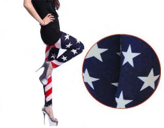 Women Stars and Stripes USA Full Length Ladies American Flag Leggings