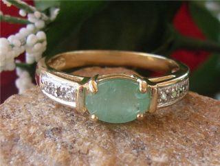 Echter Smaragd Diamant Bicolor Ring, Silber & 585/  Gold