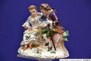 SITZENDORF, Figur, figurine, figure Paar mit Lamm Handmalerei 15