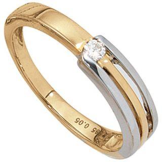 Damenring mit Diamant Brillant 0,05Ct., 585 Gold gelb/weiß, Goldring