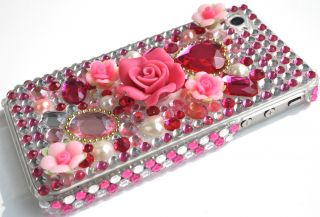 LUXUS iPhone 4 S 3D LOOK ROSE Strass COVER Bling glitzer case hülle