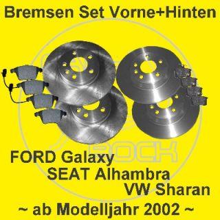Bremsen vorn hinten VW Sharan SEAT Alhambra ab 05/2001