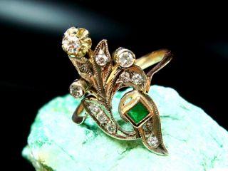 edler russischer RING / BRILLANTEN SMARAGD / 583 GOLD