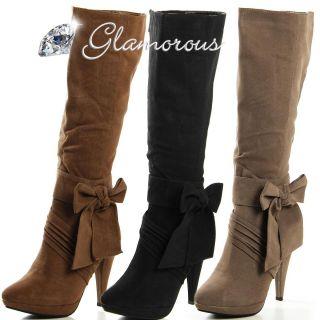 Elegante Stiefeletten Stiefel Damen Schuhe Plateau Braun High Heels