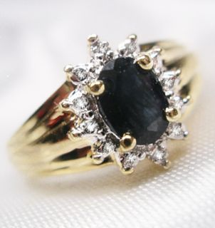 Opulenz SAPHIR DIAMANTEN RING Silber + 585 GOLD GR 57
