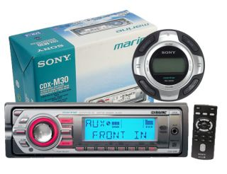 208W Sony CDXM30 CDX M30 Marine Boat CD  HD XM Radio + RMX60M Wired